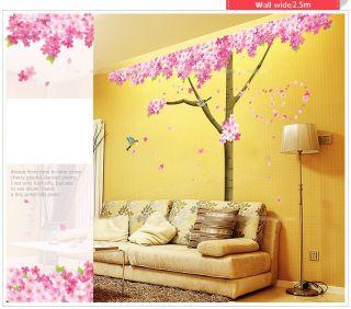 DIY Tree Birds Removable Vinyl Wall Stickers Decal Wallpaper Art Home Decor Pink