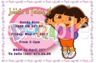 Dora Custom Pool Party Birthday Invitation You Print