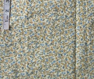 5yds Blue Yellow Floral Calico Print Cotton Fabric Quilting Sewing Crafts