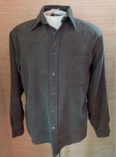 Alfani Mens Faux Suede Button Front Shirt Sz M Forest Green Very Soft