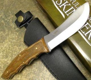 Full Tang Wood Handle Fixed Mirror Polished Blade Skinner Hunting Knife w Sheath