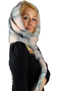 Luxury Fine Wool Stole Scarf in Princess Diana Rose Tartan