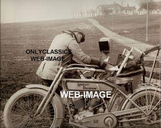 1914 Harley Davidson Sidecar Motorcycle Postman Mailman Mail Photo Americana
