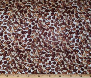 Cafe Americano Coffee Beans Fabric by Yard Quilting Cotton Food Nancy Mink