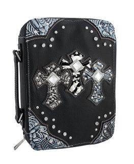 Rhinestone Accented Triple Cross Vinyl Bible Cover Color Black