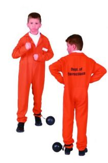 Orange Child Prisoner Convict Boy Costumes Jailbird Kids Jumpsuit 90108