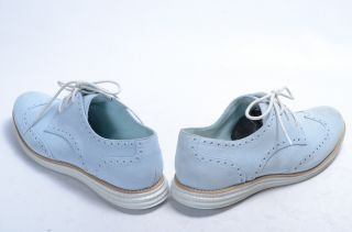 Cole Haan D39861 Lunargrand 7 5 Baby Blue Suede Oxford White Wingtip Laced Shoe