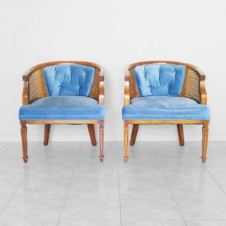 Vtg 2 French Blue Tufted Cane Low Side Chairs Mid Century Barrel Tub