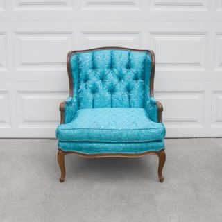 Vtg French Hollywood Regency Turquoise Satin Brocade Tufted Wing Back Arm Chair