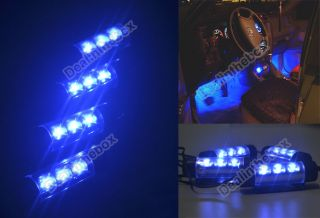 4X 3LED Car Charge 12V Glow Interior Decorative 4in1 Atmosphere Light Lamp Blue