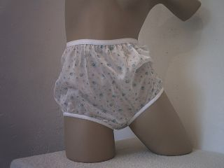 Blue Rose Print Nylon Full Vintage Style Panties Mushroom Gusset M L 44""