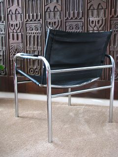 Mid Century Modern Chrome and Leather Chair Space Age Danish Modern Panton
