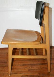 Mid Century Modern Vintage Wood Leather Authentic Gunlocke Furniture Side Chair