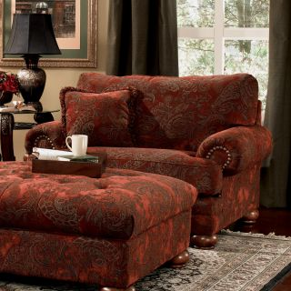 Ashley New Burlington Red Upholstered Living Room Chair and 1 2