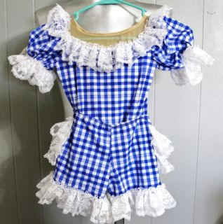 Vintage Design for Dance Blue White Gingham Lace Leotard Ruffle Shorts 5 6