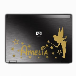Personalised Custom Girl Name Tinkerbell Pixie Fairy Wall Sticker Art Laptop Car