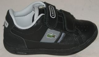 New Lacoste Europa Infant Kids Toddler Boys Velcro Strap Trainers Black Size 4