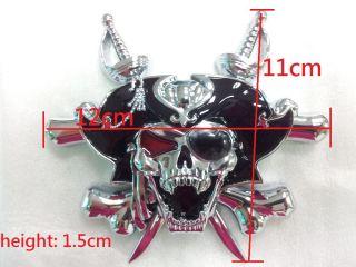 3D Custom Chrome Pirate Skull Cross Knives Evil Emblem Badge Sticker Decal