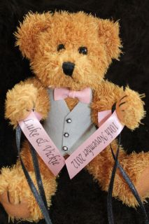 Personalised Ribbon Wedding Ring Bearer Teddy Cushion Wearing Waistcoat