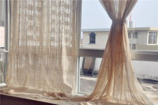 71''X94'' French Country Style Cotton Linen Beige Hand Crochet Lace Curtain F011