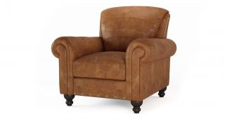DFS Perth Arm Chair 100 Real Natural Leather Tan Ranch Chair