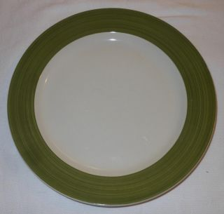 Gibson Everyday China Dinnerware Replacement Dinner Plate Olive Green Rim White