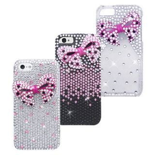 iPhone 5 5S 3D Diamond Bling Rhinestone Case Cover Bow Tie Ribbons Screen Guard
