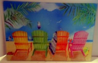 Beach Chairs Adirondack Cutting Board Glass Nautical Counter Saver Hot Plate