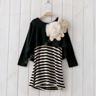 2013 Kids Baby Girl Korea 2pcs Big Flower Long Sleeve Dress Outfit Set 2 6Y TYE3