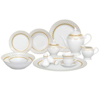 Lorren Home Trends Beatrice 57 Piece Porcelain China Dinnerware Service for 8