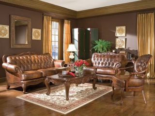 Alexander Traditional Genuine Tufted Leather Sofa Couch Set New Living Room
