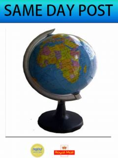 World Map Globe Atlas Revolving with Stand Educational Desk Home Office New