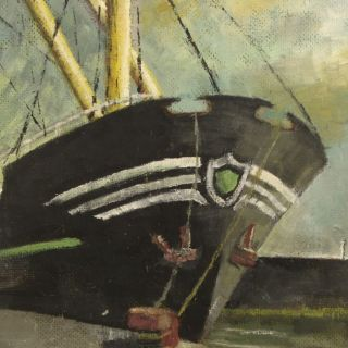 H J Fare SHIP Bristol Docks Impressionist Oil Painting Boats Contemporary Art