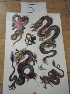 Large Sheet 6 Mens Chinese Dragon Temporary Tattoos