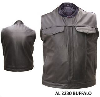 Mens Conceal Buffalo Leather Motorcycle Biker Outlaw Club Vest Gun Pockets