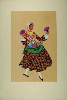 1929 Pochoir French Flower Seller Costume Dress Basket Original
