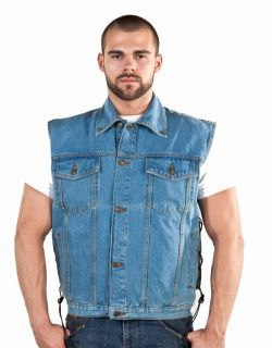 New Mens Blue Denim Motorcycle Biker Vest Jacket s 4X