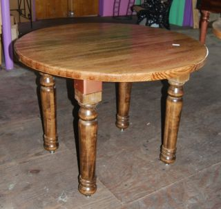 "New 42"" Round Oak Butcher Block Dining Kitchen Table with Additional 12"" Leaf"