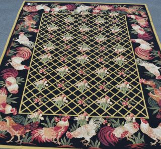 9'x12' French Country Rooster Hen Eggs Foliage Trellis Needlepoint Black Rug