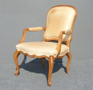 Vintage French Provincial White Tan Leather Rustic Accent Chair w Cabriole Legs