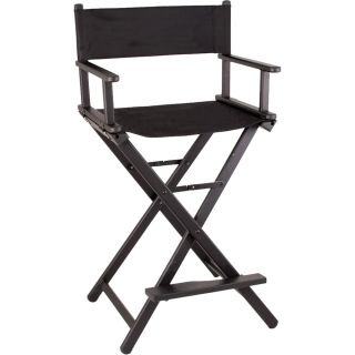 Black Light Aluminum Makeup Styling Director Chair Wood Footrest JL9 Sunbrella