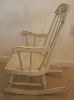 Nichols Stone Child Rocking Chair Antique White with Stenciling