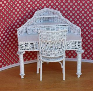 Dollhouse Miniature White Wire Corner Desk and Chair