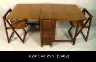 Mid Century Modern Folding Gate Leg Table Chairs 3489 R