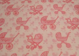 """12 6"""" Pink Baby Carriage Fabric Square Create Rag Quilt"""