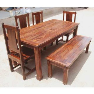 Solid Hardwood Rustic Dining Room Table Chairs Set Furniture w Patio Bench New