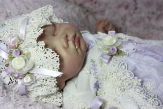 Beautiful English Lavender Lace Reborn Baby Gown Dress Hat