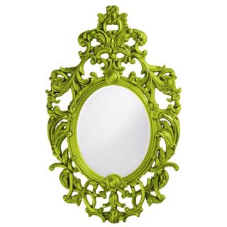 """Baroque Large Green Lacquer Wall Mirror Oval Ornate Open Scroll XL 51"""""""