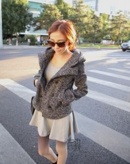 New Women's Ladies Slim Fit Double Breasted Hooded Fur Outer Short Coat Jacket