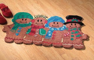 Cute Gingerbread Man PAL Rug Mat Christmas Holiday Seasonal Home Kitchen Door
